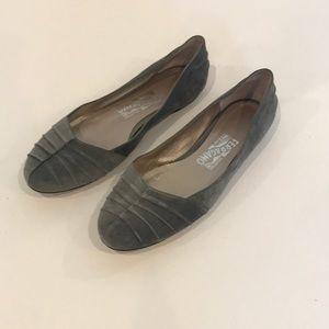 Salvatore Ferragamo Grey Suede Ballet Flat Shoe 9